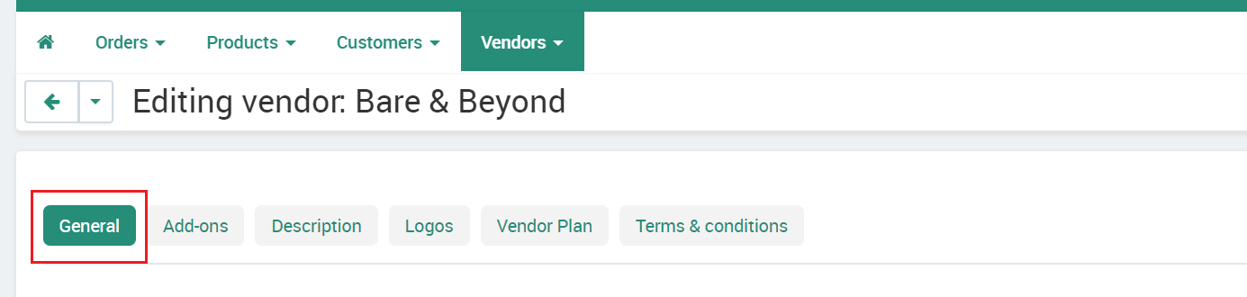 Vendor General Tab