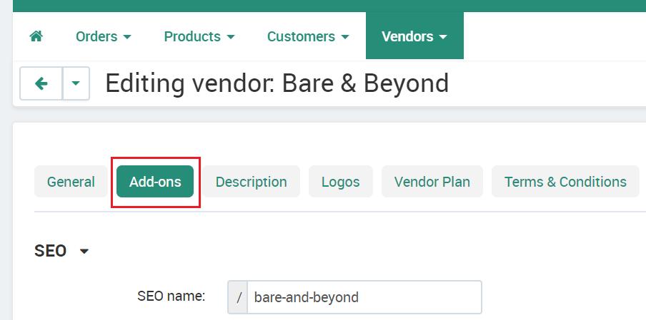 Vendor Addons Tab