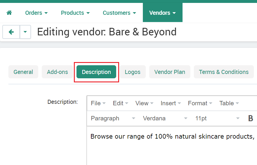 Vendor Description Tab